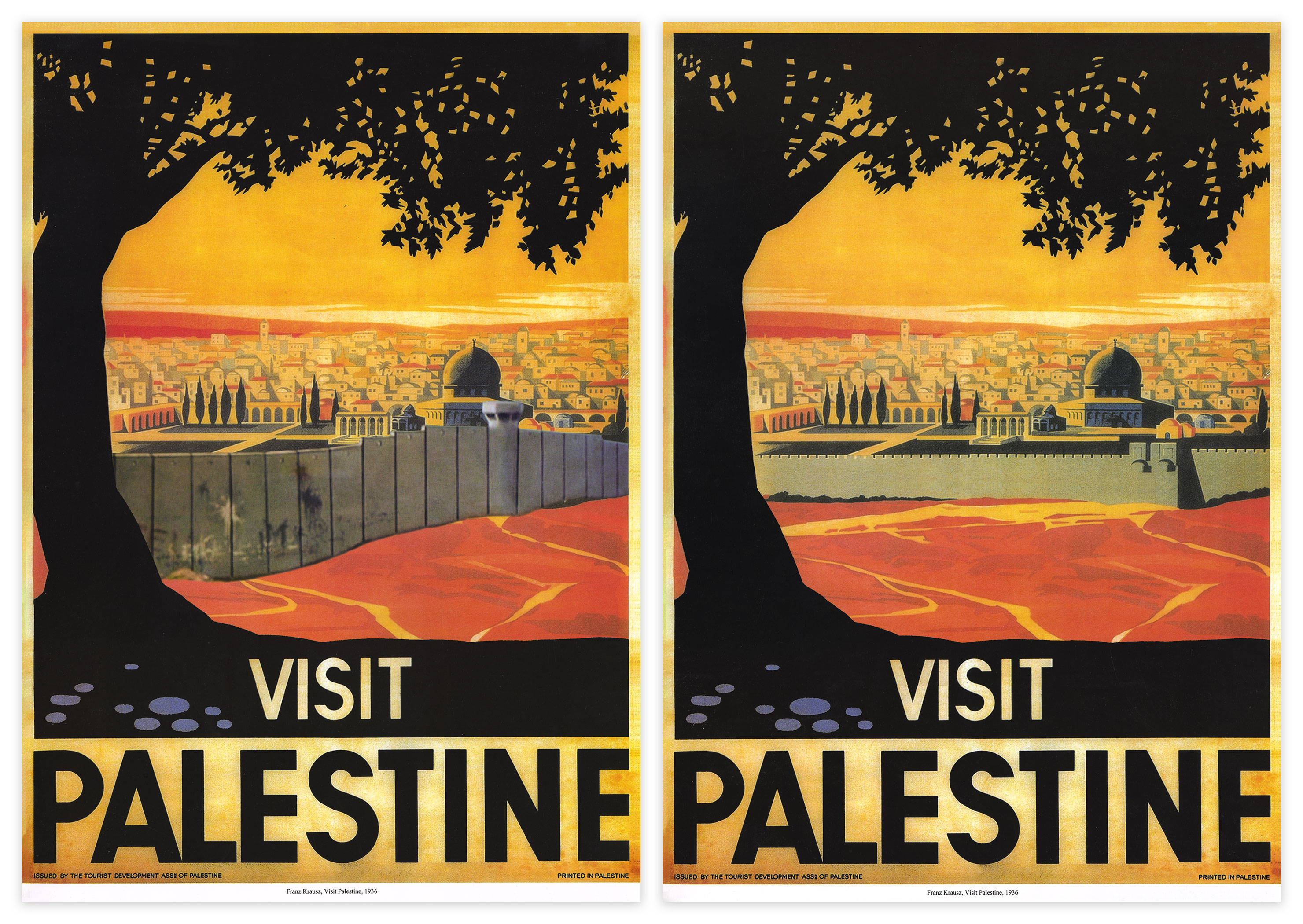 Visit Palestine posters, 2014 on left Vs. original 1936 on right